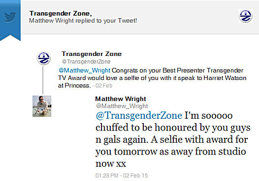 Matthew Wright Tweet about Receiving his Award for Best Presenter in the Transgender Television Awards 2015