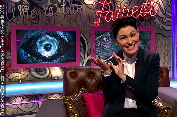 Emma Willis Accepts The Transgender Television Award for 2015 on behalf of Endemol, the whole Production Team and Presenters.