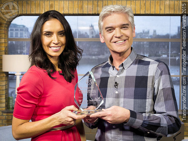 Phillip Schofield and Christine Bleakley with The Transgender Television Award for 2015.